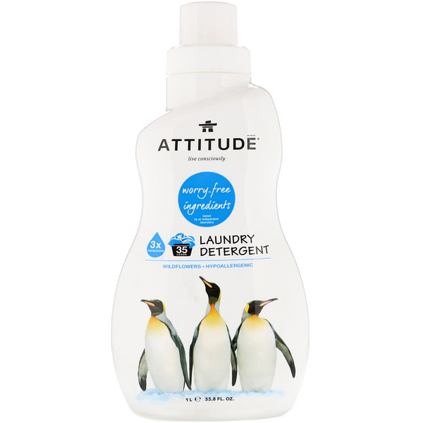 ATTITUDE, Laundry Detergent, Wildflowers, 33.8 fl oz (1 l) (Discontinued Item)