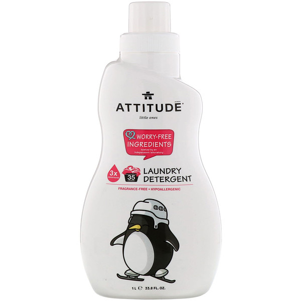 ATTITUDE, Little Ones, Laundry Detergent, Fragrance-Free, 33.8 fl oz (1 l) (Discontinued Item)