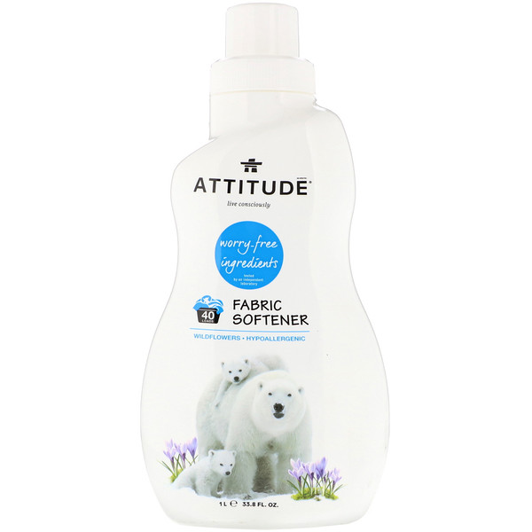 ATTITUDE, Fabric Softener, 40 Loads, Wildflowers, 33.8 fl oz (1 l)