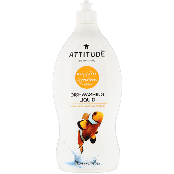 ATTITUDE, Dishwashing Liquid, Citrus Zest, 23.7 fl. oz. (700 ml) (Discontinued Item)