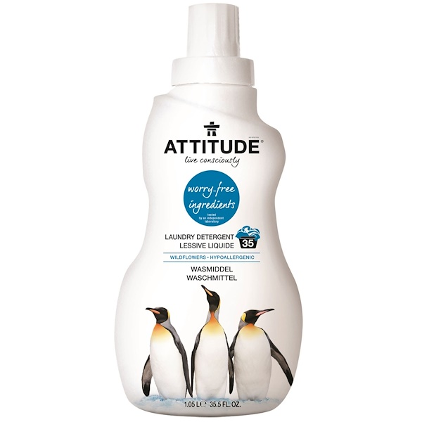 ATTITUDE, Laundry Detergent, Wildflowers, 35.5 fl oz (1.05 l) (Discontinued Item)