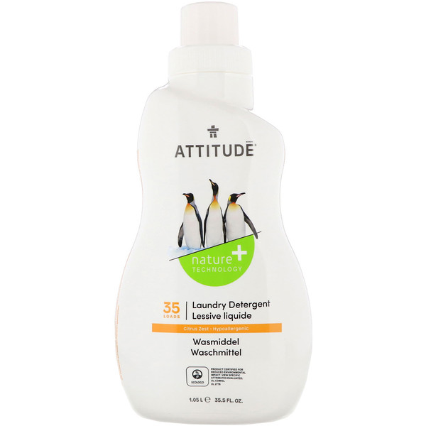 ATTITUDE, Laundry Detergent, 35 Loads, Citrus Zest, 35.5 fl oz (1.05 l) (Discontinued Item)