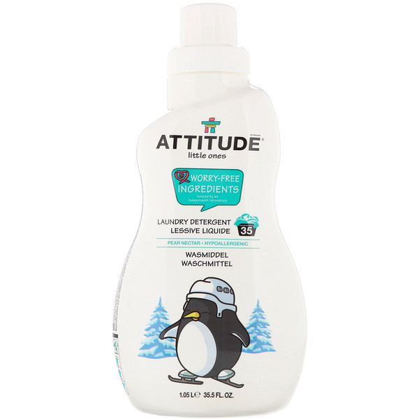 ATTITUDE, Little Ones, Laundry Detergent, Pear Nectar, 35 Loads, 35.5 fl oz  (1.05 l) (Discontinued Item)
