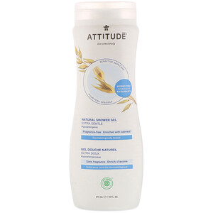 ATTITUDE, Natural Shower Gel, Extra Gentle, Fragrance-Free, 16 fl oz (473 ml)
