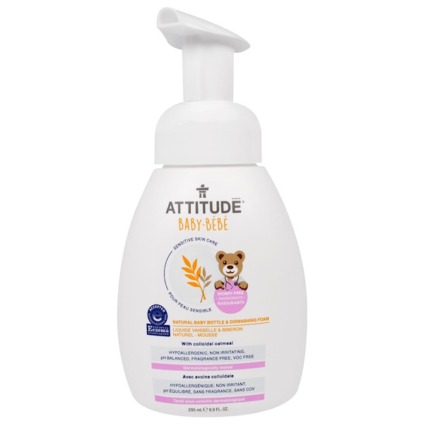 ATTITUDE, Sensitive Skin Care, Baby, Natural Baby Bottle & Dishwashing Foam, 9.9 fl oz (295 ml)