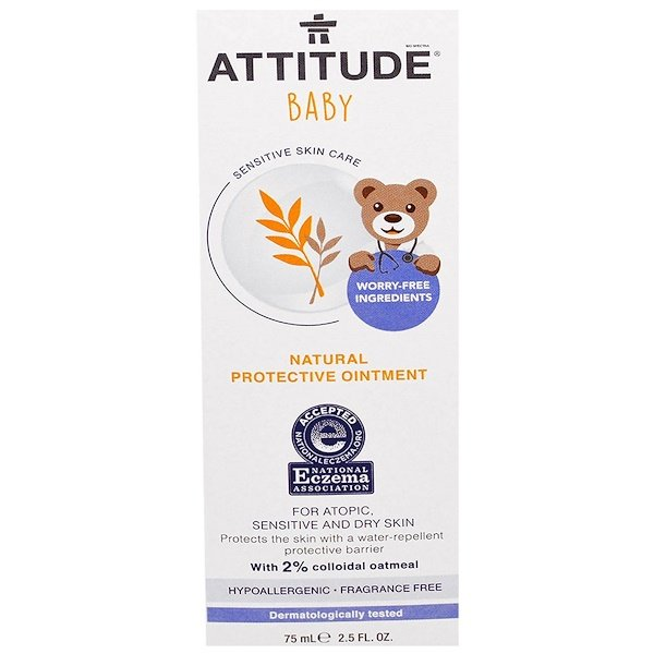 ATTITUDE, Sensitive Skin Care, Baby, Natural Protective Ointment, Fragrance Free, 2.5 fl oz (75 ml) (Discontinued Item)