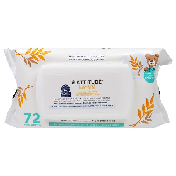 ATTITUDE, Sensitive Skin Care, Baby, Natural Baby Wipes, Fragrance Free, 72 Wipes (Discontinued Item)