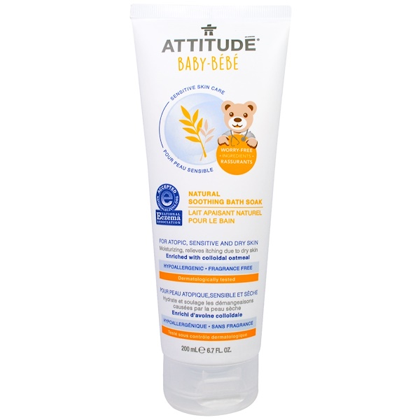 ATTITUDE, Sensitive Skin Care, Baby, Natural Soothing Bath Soak, Fragrance Free, 6.7 fl oz (200 ml) (Discontinued Item)