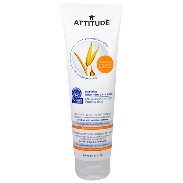 ATTITUDE, Sensitive Skin Care, Natural Soothing Bath Soak, Fragrance Free, 8.1 fl oz (240 ml) (Discontinued Item)