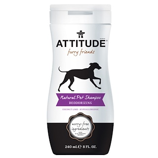 ATTITUDE, Furry Friends, Natural Pet Shampoo, Deodorizing, Coconut Lime, 8 fl oz (240 ml)