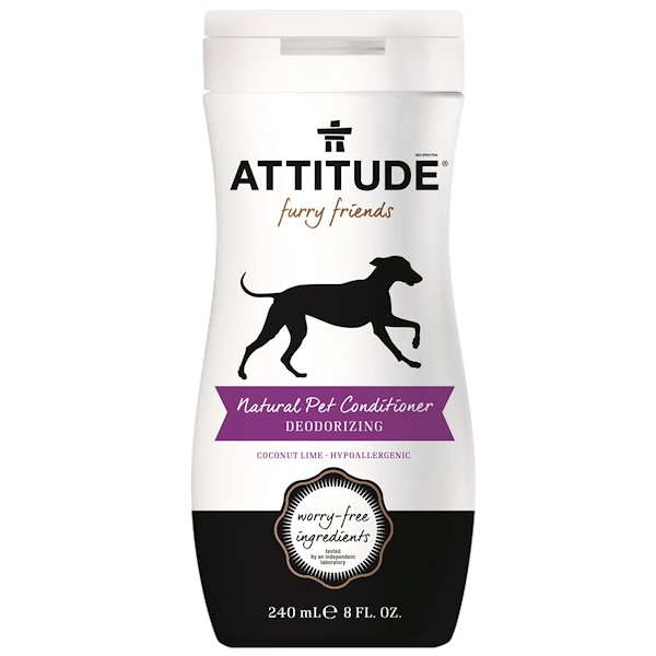 ATTITUDE, Furry Friends, Natural Pet-Conditioner, Deodirizing, Coconut Lime, 8 fl oz (240 ml) (Discontinued Item)