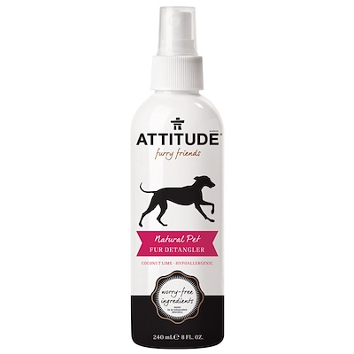 ATTITUDE 毛茸茸的朋友,自然寵物皮毛梳通劑,椰子萊姆,8液體盎司(240毫升)