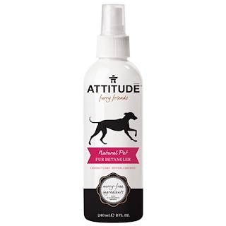 ATTITUDE, Furry Friends, Natural Pet Fur Detangler, Coconut Lime, 8 fl oz (240 ml)
