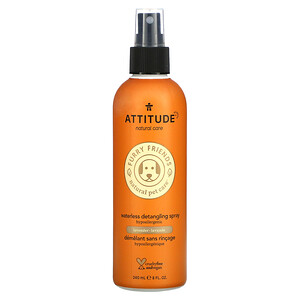 ATTITUDE, Furry Friends Natural Pet Care, Waterless Detangling Spray, Lavender, 8 fl oz (240 ml)