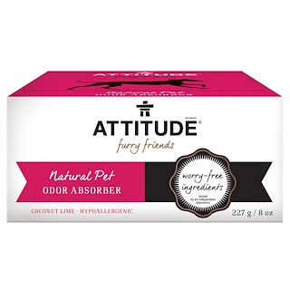 ATTITUDE, Furry Friends, Natural Pet Odor Absorber, Coconut Lime, 8 oz (227 g)