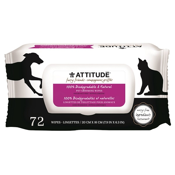 ATTITUDE, Furry Friends, 100% Biodegradable & Natural Pet Grooming Wipes, Fragrance-Free, 72 Wipes (Discontinued Item)