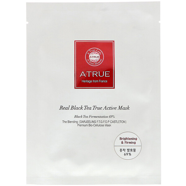 ATrue, Real Black Tea True Active Mask, 1 Sheet, 0.88 oz (25 g) (Discontinued Item)