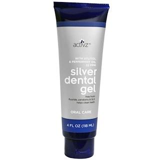 Activz, Silver Dental Gel, With Xylitol & Peppermint Oil, 22 ppm, 4 fl oz (118 ml)