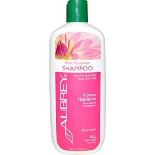 Aubrey Organics, Rosa Mosqueta Shampoo, Vibrant Hydration, All Hair Types, 11 fl oz (325 ml)