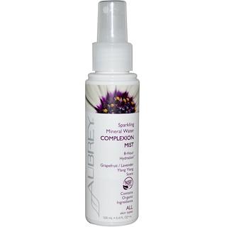 Aubrey Organics, Sparkling Mineral Water Complexion Mist, Grapefruit/Lavender Ylang Ylang Scent, 3.4 fl oz (100 ml)
