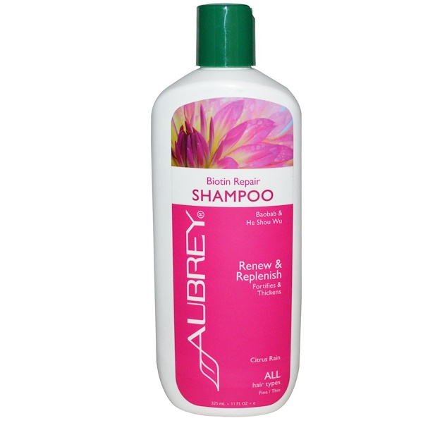 Aubrey Organics, Biotin Repair Shampoo, Citrus Rain, 11 fl oz (325 ml) (Discontinued Item)