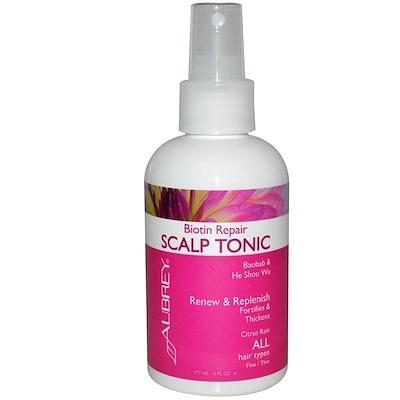 Купить Aubrey Organics Восстанавливающий тоник для кожи головы с биотином, цитрусовый дождь, 6 жидких унций (177 мл)