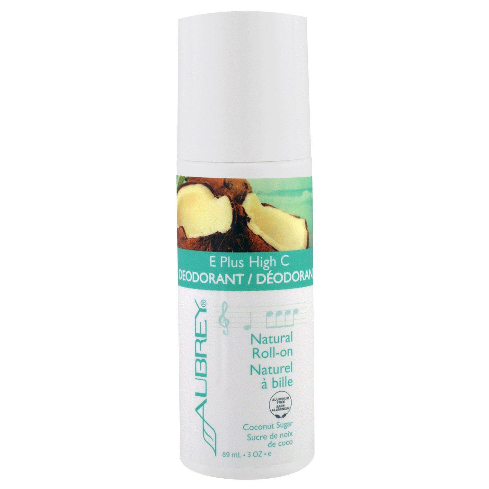 Aubrey Organics, E Plus High C, натуральный шариковый дезодорант, кокосовый сахар, 3 жидк. унц. (89 мл)