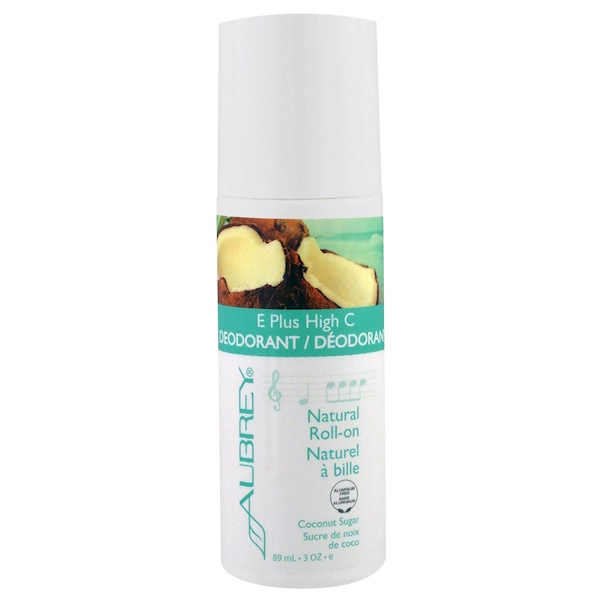 Aubrey Organics, E Plus High C, Natural Roll-On Deodorant, Coconut Sugar, 3 fl oz (89 ml) (Discontinued Item)