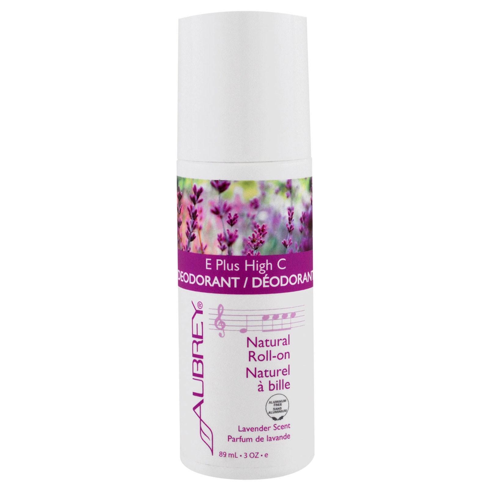 Aubrey Organics, E Plus High C, натуральный шариковый дезодорант, аромат лаванды, 3 жидк. унц. (89 мл)