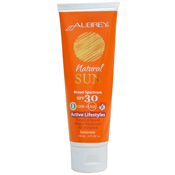 Aubrey Organics, Natural Sun, Active Lifestyles Sunscreen, SPF 30, Tropical Scent, 4 fl oz (118 ml) (Discontinued Item)