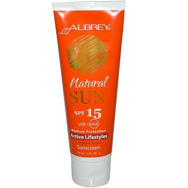 Aubrey Organics, Природное солнце, активный образ жизни, солнцезащитный крем с тропическим запахом, SPF 15, 4 жидких унций (118 мл) (Discontinued Item)