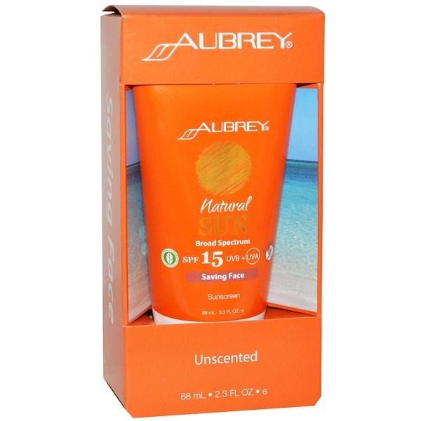 Aubrey Organics, ナチュラル サン、SPF 15、お顔を守るサンスクリーン、無香料、2.3 液量オンス (68 ml) (Discontinued Item)