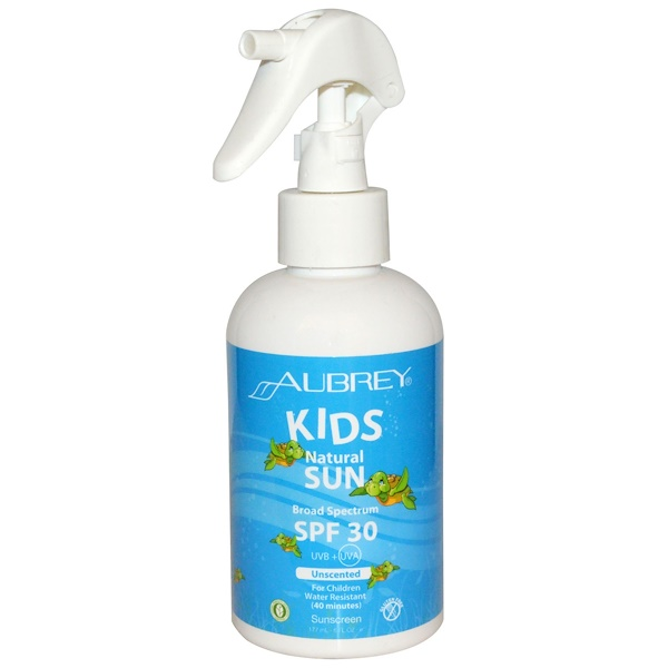 Aubrey Organics, Kids Natural Sun, Sunscreen, SPF 30, Unscented Spray, 6 fl oz (177 ml) (Discontinued Item)