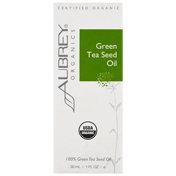 Aubrey Organics, 有機,綠茶籽油,1盎司(30毫升) (Discontinued Item)