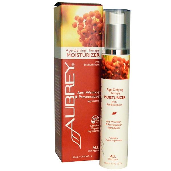 Aubrey Organics, Age-Defying Therapy Moisturizer, All Skin Types, 1.7 fl oz (50 ml) (Discontinued Item)
