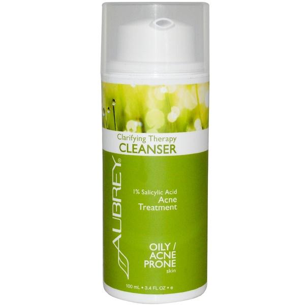 Aubrey Organics, Clarifying Therapy Cleanser, Oily / Acne Prone Skin, 3.4 fl oz (100 ml) (Discontinued Item)