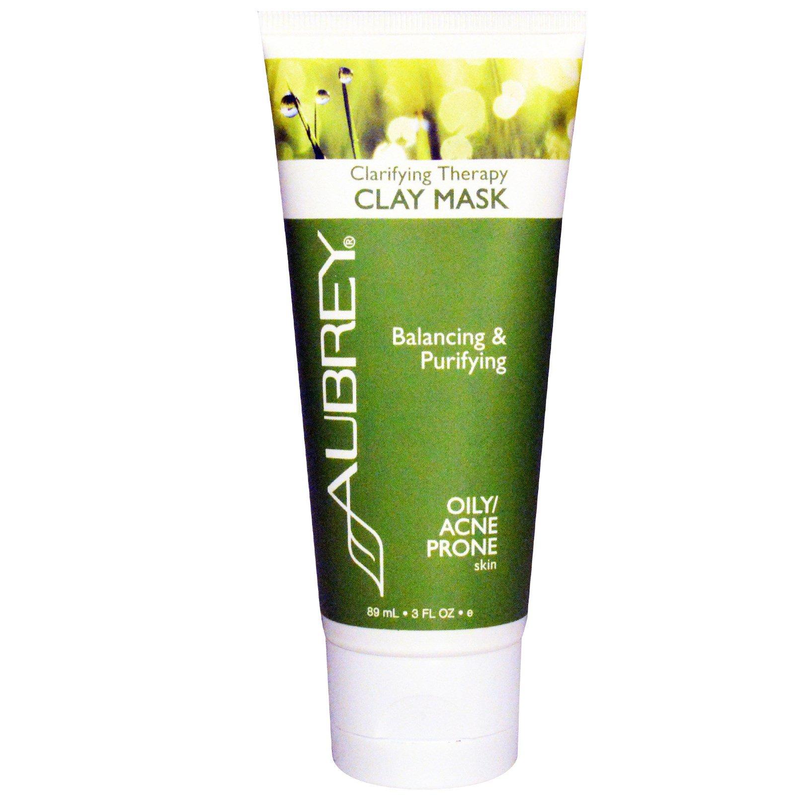 Aubrey Organics, Clarifying Therapy Clay Mask, Oily / Acne Prone Skin, 3 fl oz (89 ml)