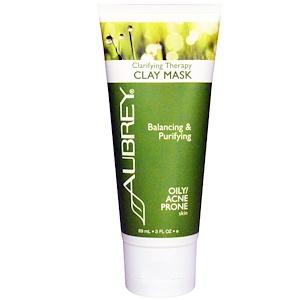Обри Органикс, Clarifying Therapy Clay Mask, Oily / Acne Prone Skin, 3 fl oz (89 ml) отзывы