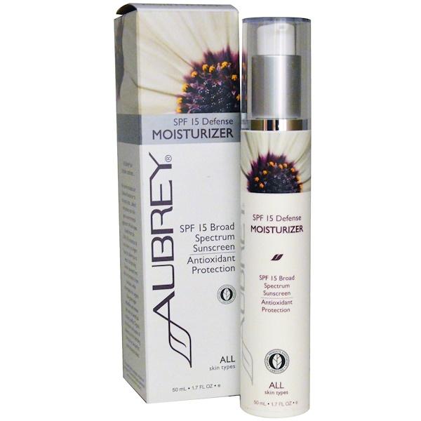 Aubrey Organics, SPF 15 Defense Moisturizer, All Skin Types, 1.7 fl oz (50 ml) (Discontinued Item)