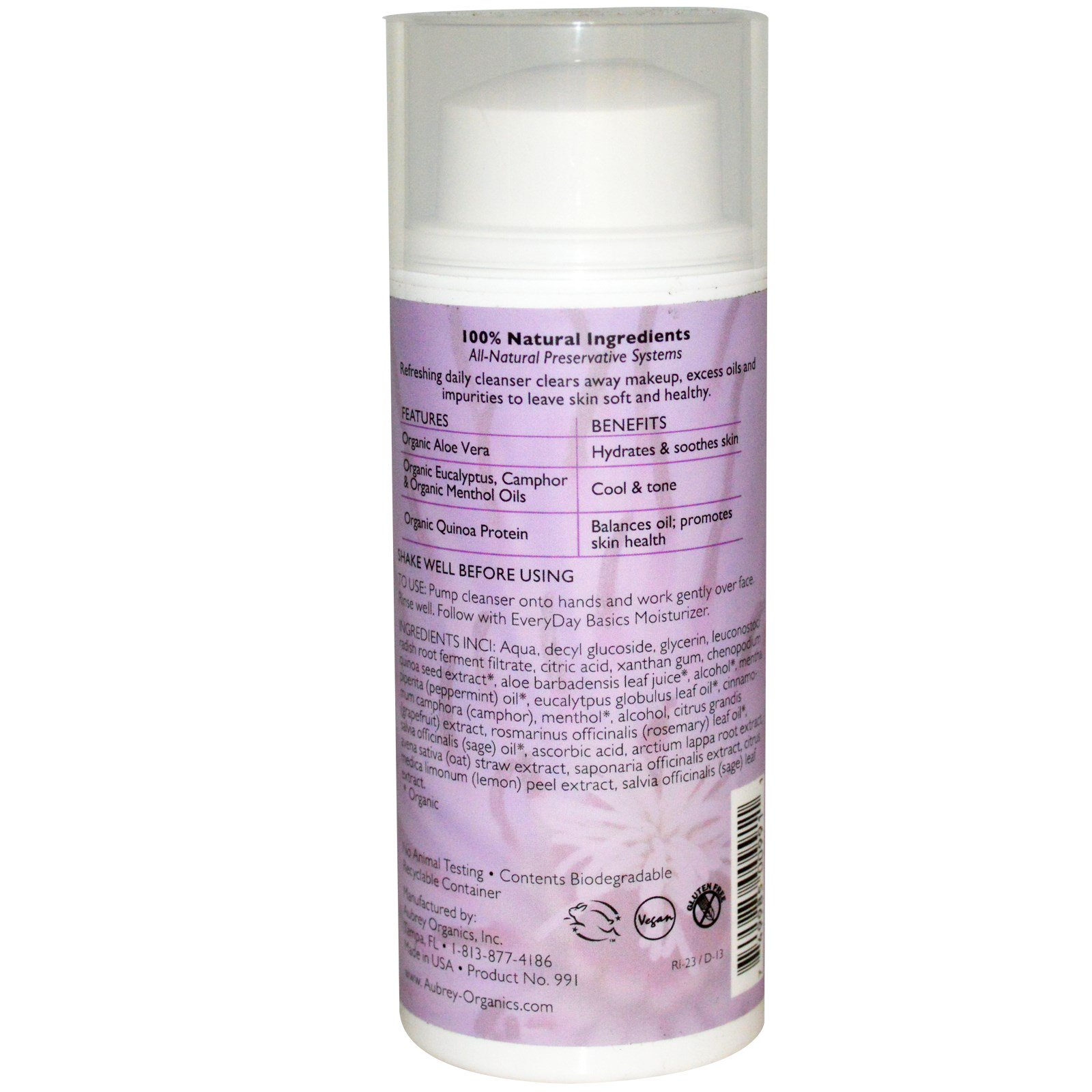 EveryDay Basics Cleansing Gel For Normal/Oily Skin - 3.4 fl. oz. by Aubrey Organics (pack of 12 ) 2 Pack - Dermalogica Age Smart Skin Perfect Primer  0.75 oz