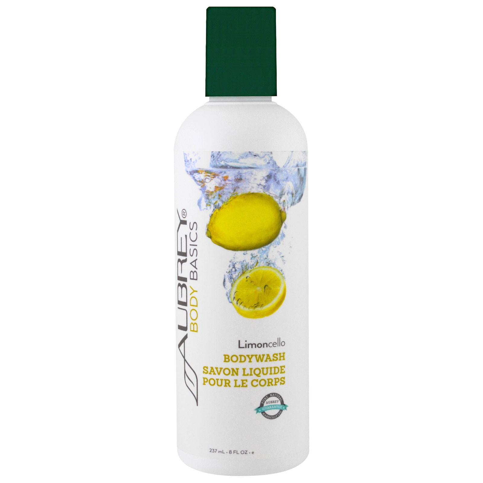 Aubrey Organics, Основные средства для тела, гель для душа, лимончелло, 8 жидких унций (237 мл)