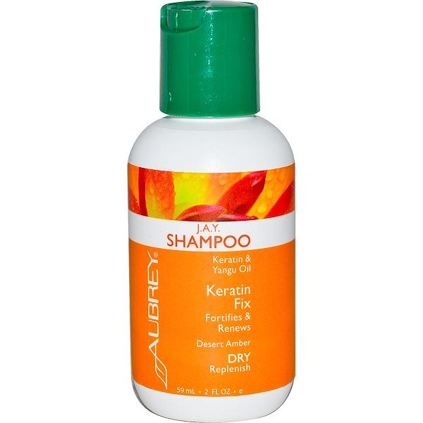 Aubrey Organics, J.A.Y. Shampoo, Keratin Fix, Dry/Replenish, 2 fl oz (59 ml) (Discontinued Item)