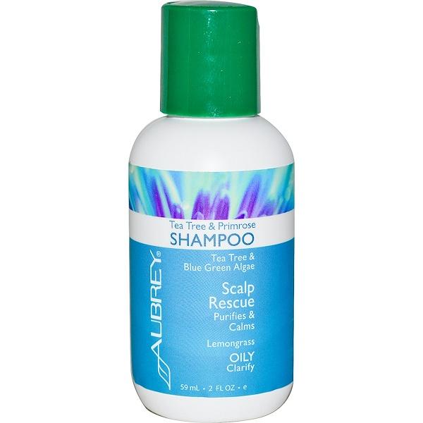 Aubrey Organics, Tea Tree & Primerose Shampoo, Scalp Rescue, Oily/Clarify, 2 fl oz (59 ml) (Discontinued Item)