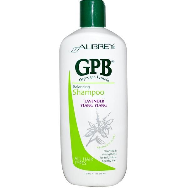 Aubrey Organics, Balancing Shampoo, GPB Glycogen Protein, All Hair Types, Lavender Ylang Ylang, 11 fl oz (325 ml) (Discontinued Item)