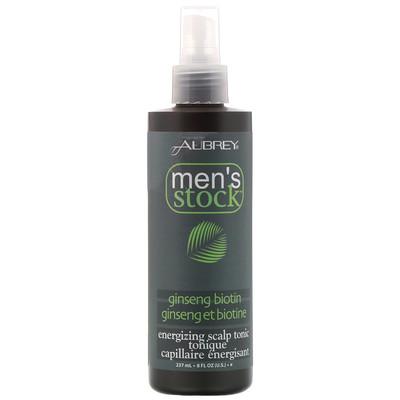 Купить Aubrey Organics Men's stock, энергетический тоник для кожи головы, с женьшенем и биотином, 8 жидких унций (237 мл)
