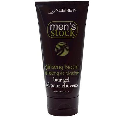 Купить Aubrey Organics Мужской набор, гель для волос, с биотином и женьшенем, 6 жидких унций (177 мл)