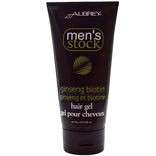 Aubrey Organics, Men's Stock, Hair Gel, Ginseng Biotin, 6 fl oz (177 ml)