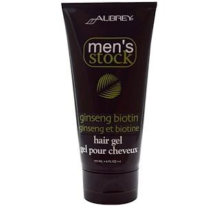 Обри Органикс, Men's Stock, Hair Gel, Ginseng Biotin, 6 fl oz (177 ml) отзывы покупателей