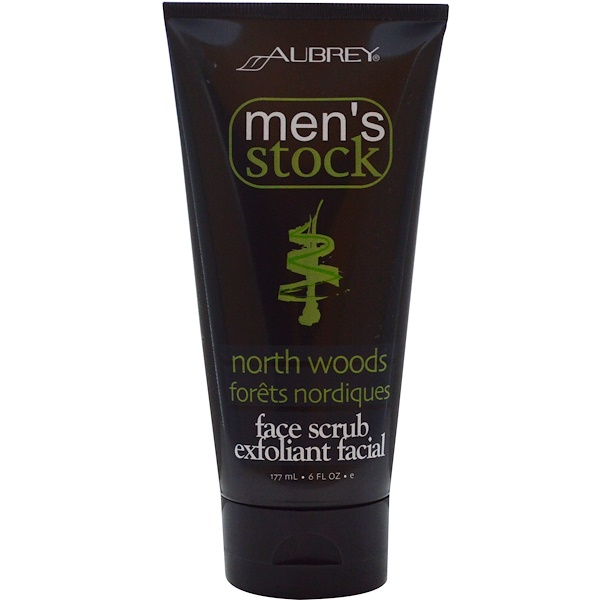 Aubrey Organics, Men's Stock, Face Scrub Exfoliant Facial, North Woods, 6 fl oz (177 ml) (Discontinued Item)