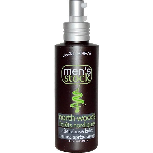 Aubrey Organics, Men's Stock, After Shave Balm, North Woods, 4 fl oz (118 ml) (Discontinued Item)